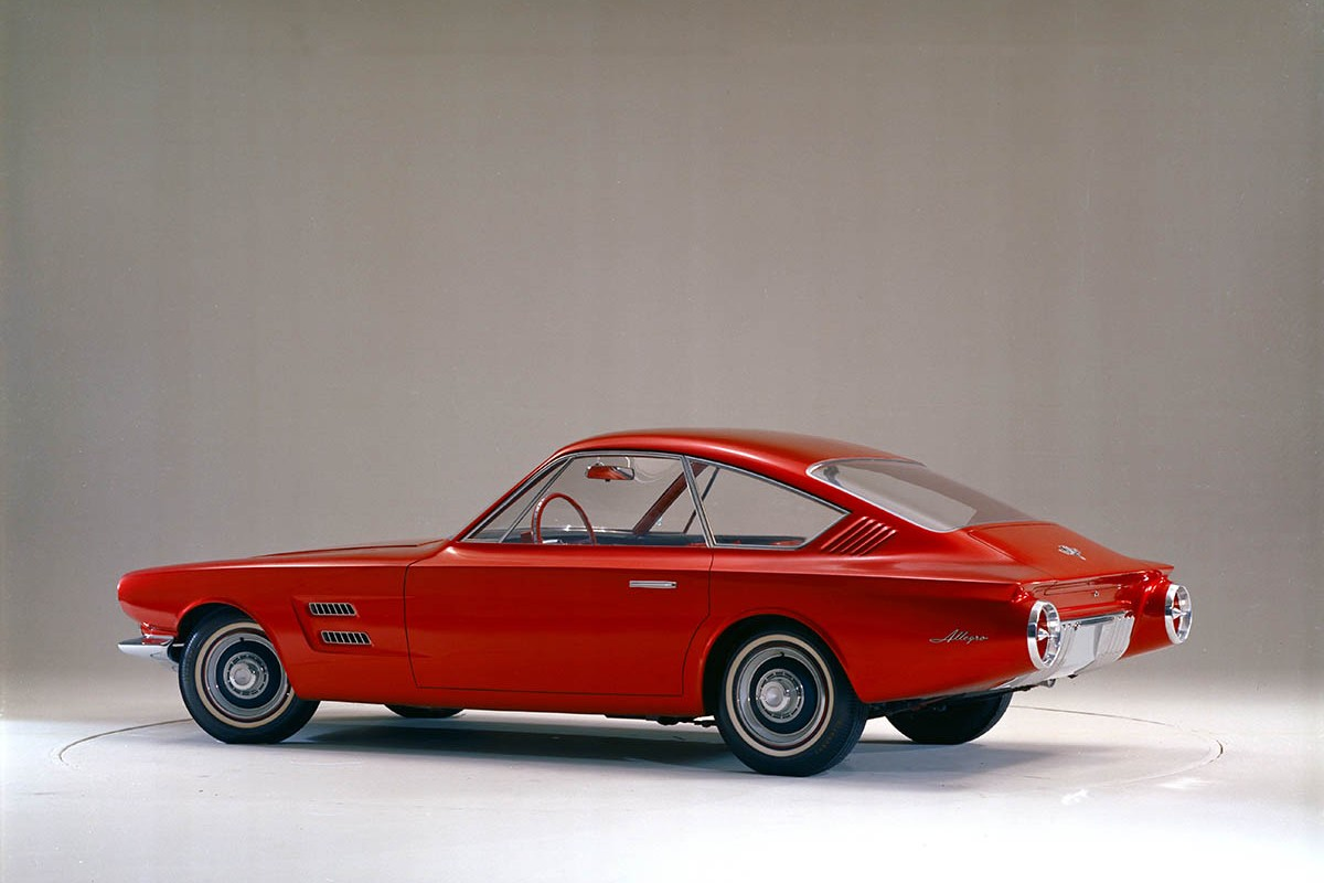 As Avventura moved from sketch to physical design model, the hatch was replaced with a trunk and the rear seat was switched to a more conventional forward-facing orientation.  Originally shown internally as Avanti, the name was eventually changed to Allegro, likely because Studebaker had introduced its own production Avanti coupe around the same time.