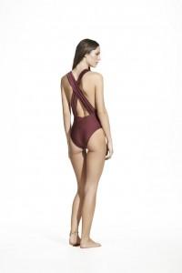 burgundy drape one piece back