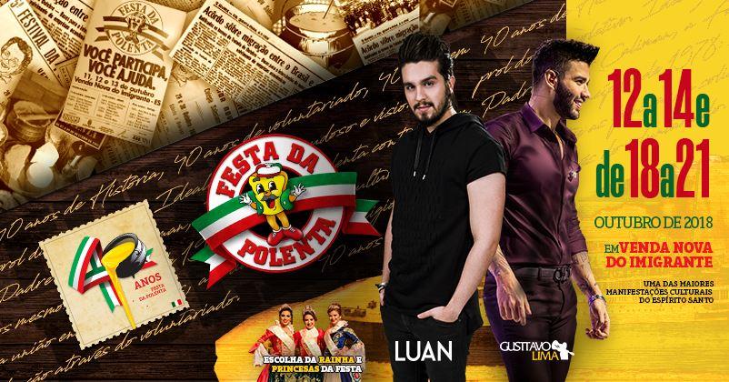 Luan Santana retorna ao estado para show na 40ª Festa da Polenta de Venda Nova