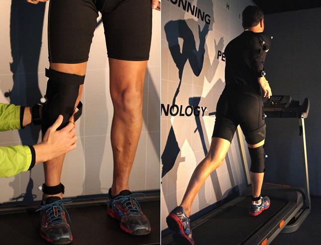 É feita a marcação de pontos pelo corpo. Em seguida, o atleta corre nas esteira por 5 minutos. O software faz a leitura postural e o resultado sai na hora.