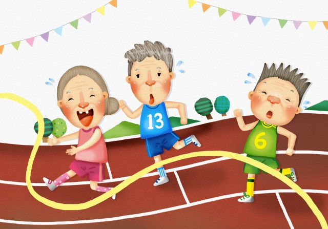 Three old people running on a track