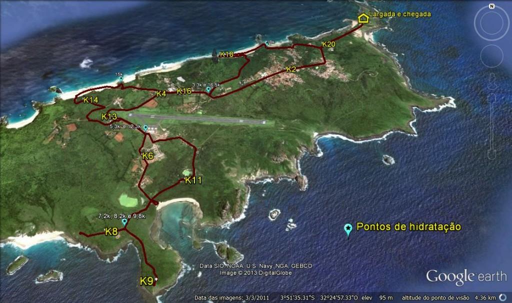Mapa do Percurso da Meia Maratona da 21k Noronha. Foto: Divulgação