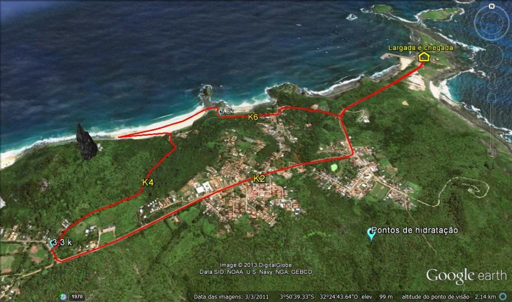 Mapa do Percurso de 8k da 21k Noronha. Foto: Divulgação