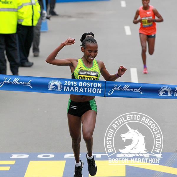Caroline Rotich venceu com o tempo de 2h24min55. Foto: Divulgação Maratona de Boston