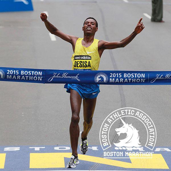 Lelisa Desisa concluiu os 42km de prova em 2h09min17. Foto: Divulgação Maratona de Boston