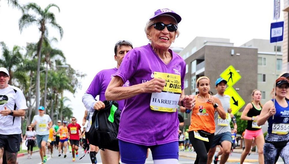 Harriette Thompson, de 92 anos, completou os 42km em 7h24min36seg
