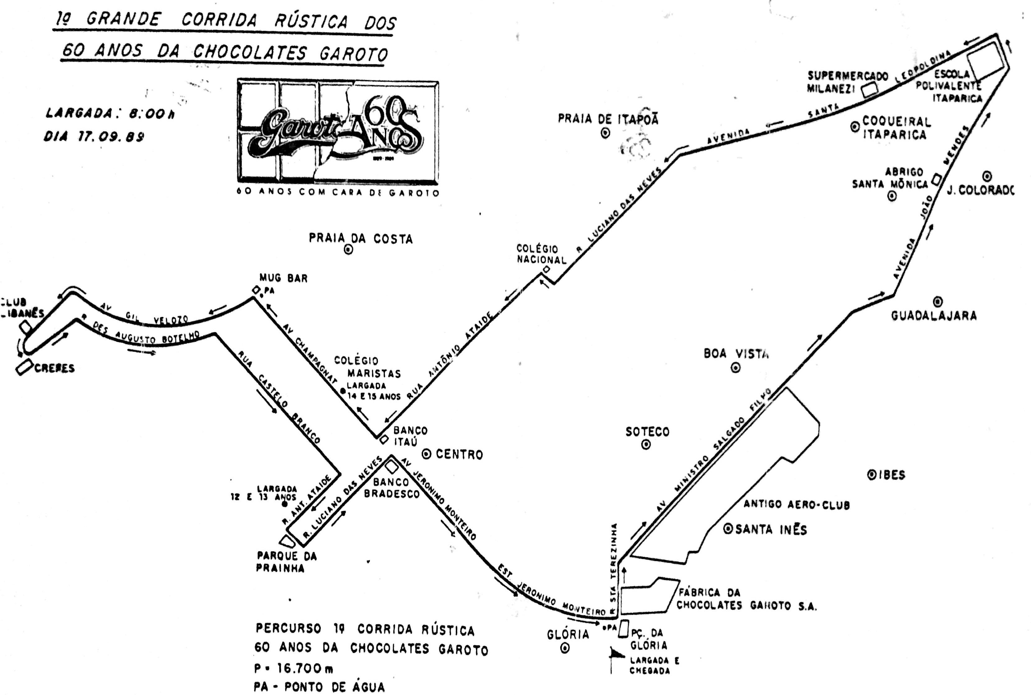 """""""Eles entregaram esse mapa na hora da inscrição e a gente usava para treinar o percurso"""", conta Maria Otília"""