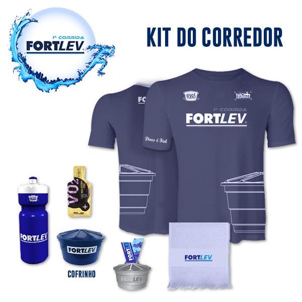 Camisa azul, cofrinho em formato de caixa d'água, squeeze, toalhinha, gel carboidrato e medalha única fazem parte do kit da Corrida Fortlev