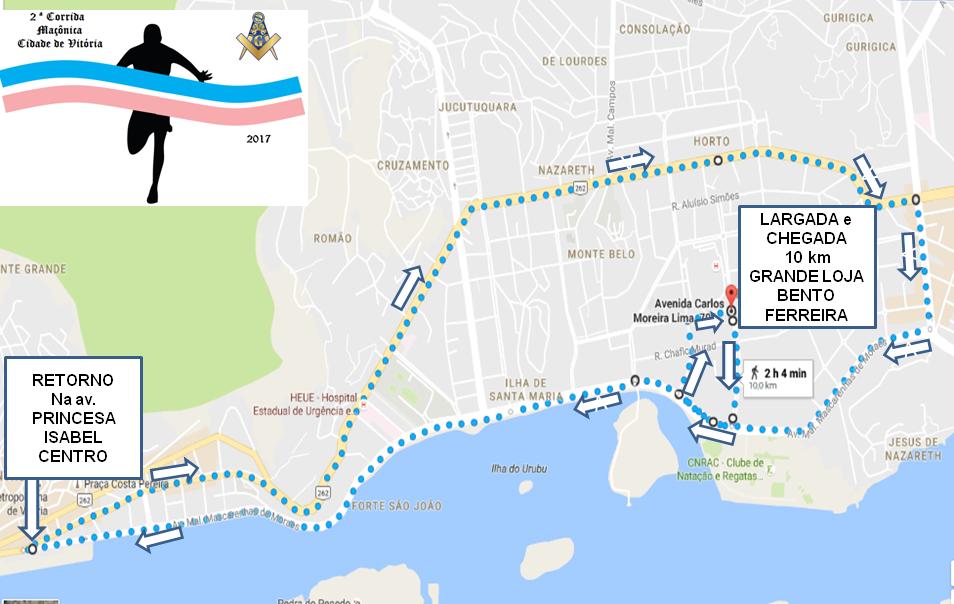 Percurso Corrida Maçônica 10km
