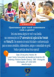 Convite aniversário da LBV