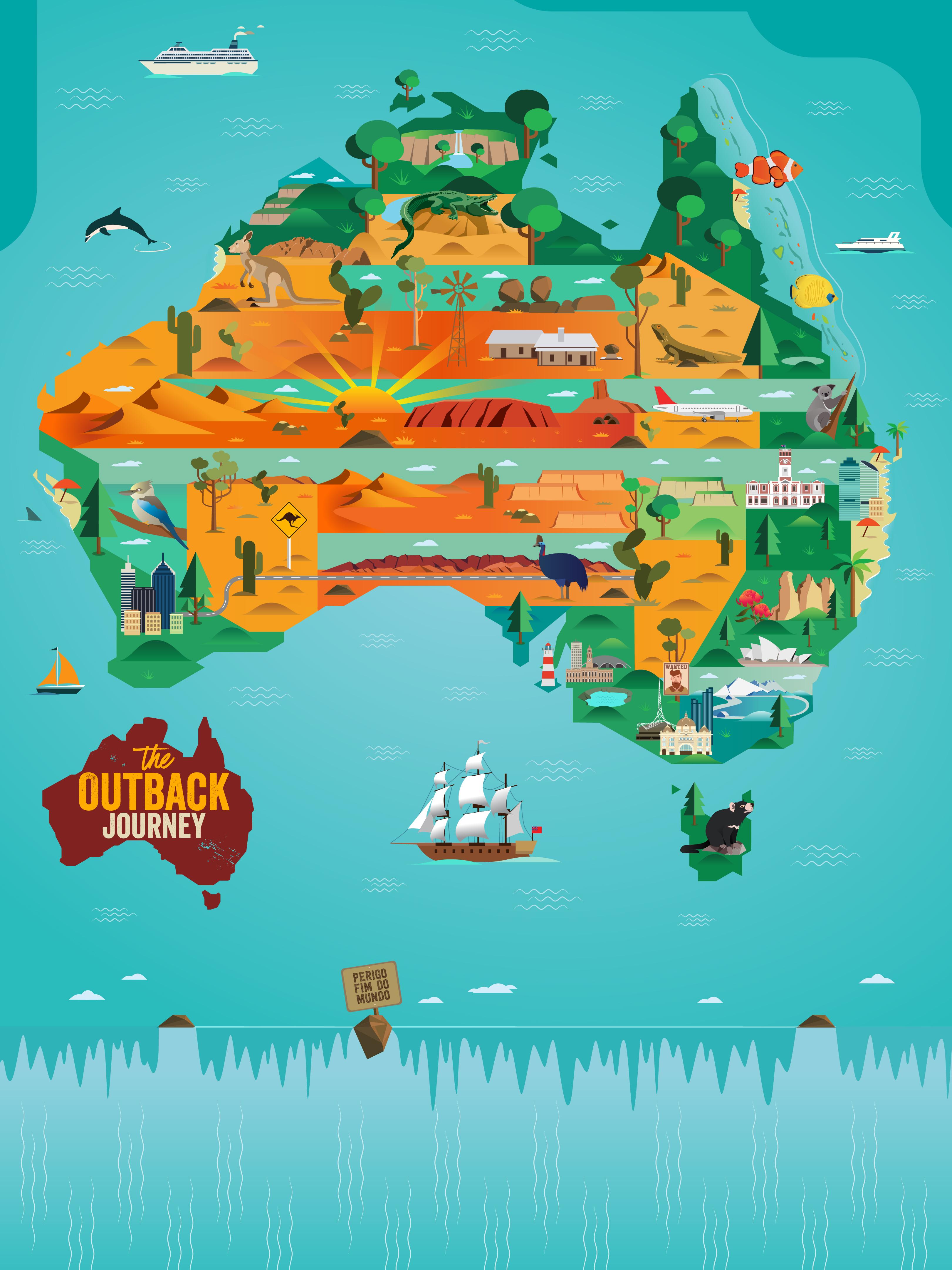 9c9f31a62 A marca apresenta ilustrações e curiosidades da terra do canguru Para  participar é simples: ao acessar o perfil @TheOutbackJourney no Instagram,  ...