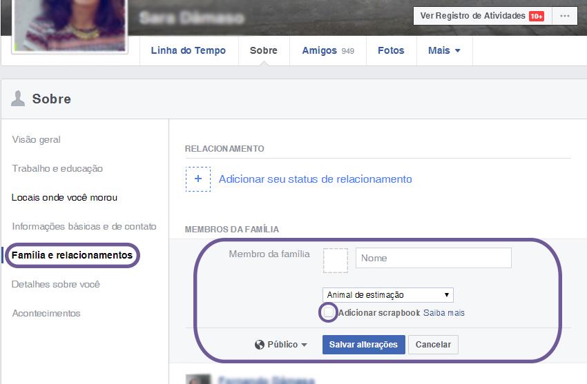 como criar um scrapbook no facebook